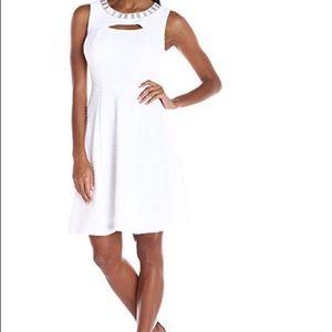 Sandra Darren White Knit Fit & Flare dress. Sz 6